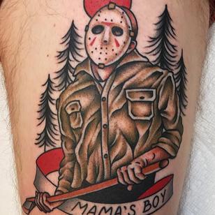 Horror tattoo by Tony Trustworthy Talbert #TonyTalbert #Fridaythe13th #JasonVoorhees #horrortattoos #horrortattoo #horror #darkart #evil #darkness #death #color #traditional #mamasboy #axe #murderer