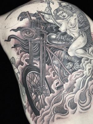 Motorcycle babe and reaper tattoo by Hanna Sandstrom #HannaSandstrom #DarkAgeSeattle #Seattle #blackandgrey #illustrative #fire #smoke #babe #pinup #skull #reaper #motorcycle #badass #scythe