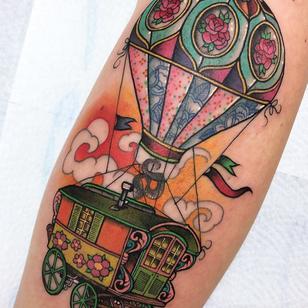 Beautiful color tattoo by Guen Douglas #GuenDouglas #tattooartist #tattoodo #tattoodoapp #awesometattoo #besttattoo #caravan #travel #trailer #hotairballoon #vacation #pattern #color #neotraditional #flowers