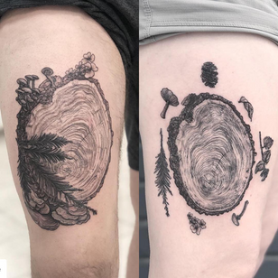 Best Friend Tattoos Guy and Girl by Tina Poe #TinaPoe #bestfriendtattoos #friendshiptattoos #friendtattoos #bfftattoo #matchingfriendtattoos #illustrative #linework #nature #mushrooms #fungi #plants #wood #tree