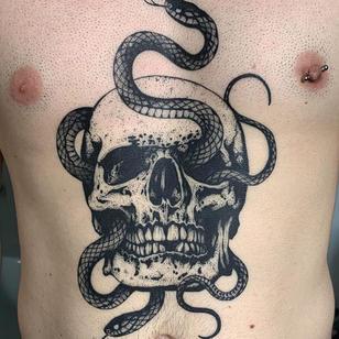 Tattoo by Bellesetbuth #blackwork #dotwork #illustrative #skull #snake #dotwork