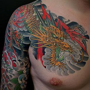 Japanese tattoo by Matt Beckerich #MattBeckerich #tattooideas #tattooidea #tattooinspiration #tattoodesign #tattoodesignidea #tattooinspo #Japanese #dragon #chest #sleeve #chrysanthemum #waves #irezumi #japanesetattoo