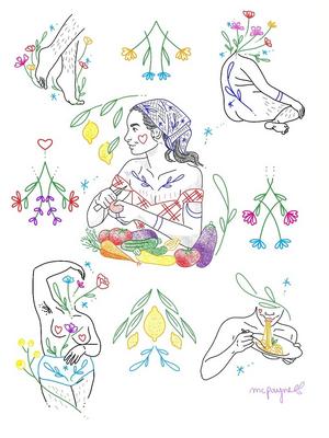 Tattoo art by Katie Mcpayne #KatieMcpayne #illustrative #linework #queertattooer #vegantattoo #colortattoo #fineline