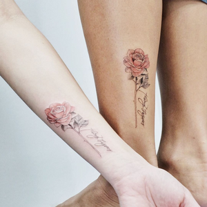 Small best friend tattoos by Fleecircus #fleecircus #bestfriendtattoos #friendshiptattoos #friendtattoos #bfftattoo #matchingfriendtattoos #illustrative #linework #rose #flower #floral #script #lettering #cursive