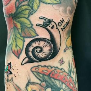 Snail tattoo by Wendy Pham #WendyPham #snailtattoo #snailtattoos #snail #nature #animal #blackwork #illustrative #cute