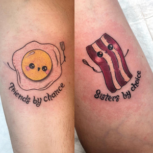 Matching best friend tattoos by Hailey Amethyst #HaileyAmethyst #bestfriendtattoos #friendshiptattoos #friendtattoos #bfftattoo #matchingfriendtattoos #foodtattoos #newschool #lettering #eggs #bacon #cute