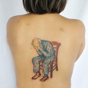 Van Gogh tattoo by Jess Chen #JessChen #finearttattoos #arthistory #VanGogh #portrait #painting #oilpainting