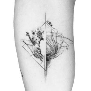 Illustrative tattoo by Peter Laeviv #PeterLaeviv #realism #illustrative #linework #intricate #detailed #fineline #abstract