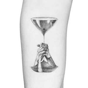 Illustrative tattoo by Peter Laeviv #PeterLaeviv #realism #illustrative #linework #intricate #detailed #fineline #abstract #hourglass #hands