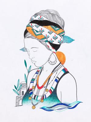 Illustrative tattoo flash by Ani des Aubes #AnidesAubes #illustrative #linework #nature #organic #beauty #love #portrait #patterns #dotwork #color #watercolor
