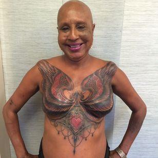 Juanita's finished mastectomy tattoo by Shane Wallin #ShaneWallin #mastectomytattoos #mastectomy #mastectomyscarcoverup #scarcoveruptattoo