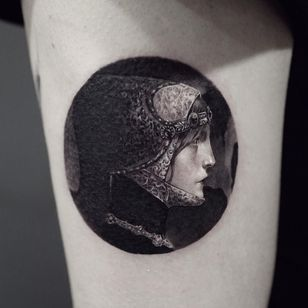 Lucien Victor tattoo by ColdGray #ColdGray #finearttattoos #arthistory #LucienVictor #painting #symbolism #blackandgrey #portrait #ladyhead