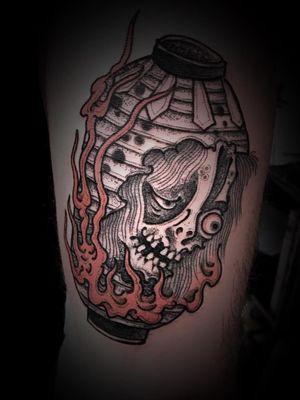 Chochin Obake tattoo by Bang Ganji #BangGanji #GanjiBang #finearttattoos #arthistory #chochinobake #lantern #yokai #demon #fire #ghost #Japense #ukiyoe