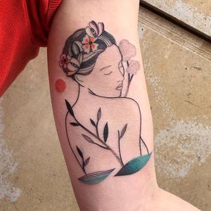 Illustrative tattoo by Ani des Aubes #AnidesAubes #illustrative #linework #nature #organic #beauty #love #portrait #patterns #dotwork #color #watercolor #leaves #flowers #floral