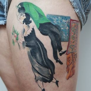 Chagall tattoo by Jess Chen #JessChen #finearttattoos #arthistory #paintings #famousart #portrait #kiss #couple #flowers #floral #pattern #surreal #surrealism #love