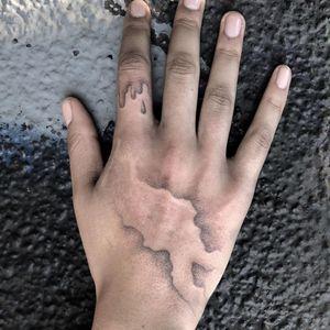 Hand poke tattoo by Sabrina Drescher aka stabdee #SabrinaDrescher #StabDee #handpoketattoo #illustrative #dotwork #handpoke #handtattoo #surreal #surrealism #drips #burnscarcoverup #scarcoverup