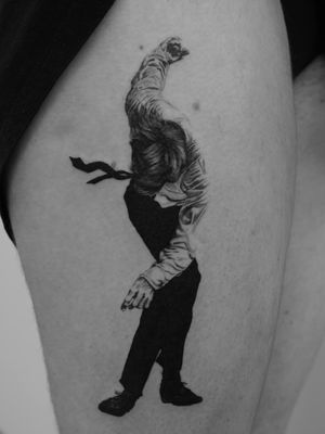 Robert Longo tattoo by n.t Limoges #ntLimoges #finearttattoos #arthistory#RobertLongo #charcoal #illustration #drawing #body #realism #realistic