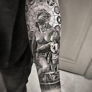 Venus and cupid tattoo by Josh Lin #JoshLin #finearttattoos #arthistory #Venus #Cupid #zodiac #starsigns #woman #portrait #sculpture #blackandgrey #realism #realistic