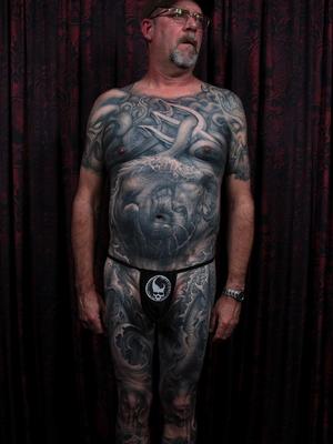 Dark art bodysuit tattoo by Paul Booth #PaulBooth #LastRites #BoothGallery #biomechanical #darkart #surrealism #blackandgrey #occult #esoteric #horror #surreal