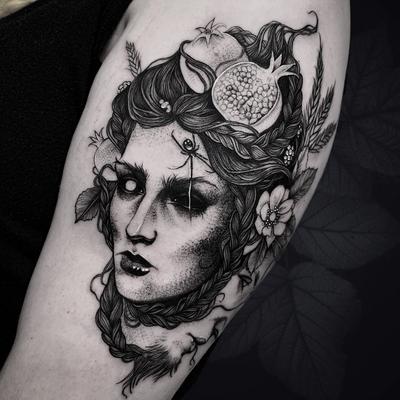 Dark art tattoo by Matt Murray #MattMurray #besttimetogettattooed #gettattooed #winter #besttattoos #darkart #portrait #ladyhead #spider #pomegranate #flower #floral #illustrative #arm