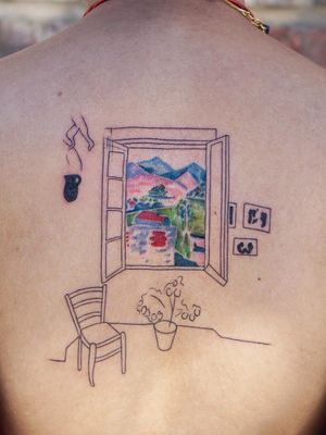 Matisse tattoo by Jess Chen #JessChen #finearttattoos #arthistory #Matisse #expressionism #stillife #landscape #paintings #mountains #nature #painting #flowers #color #illustrative