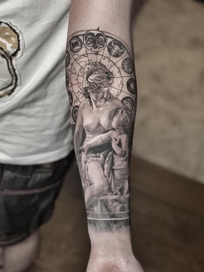 Realism tattoo by Josh Lin #JoshLin #besttimetogettattooed #gettattooed #winter #besttattoos #blackandgrey #sculpture #constellation #realism #fineline #intricate #arm #zodiac