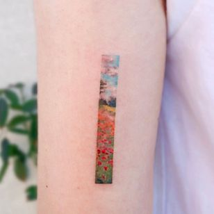 Monet tattoo by Euynu #Eunyu #finearttattoos #arthistory #Monet #painting #landscape #impressionism #flowers #sky #clouds #forest #trees #nature