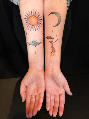 Illustrative tattoo by Ani des Aubes #AnidesAubes #illustrative #linework #nature #organic #beauty #love #matchingtattoo #landscape #sun #Moon