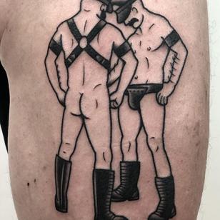 Leather daddies tattoo by Philippe Fernandez #PhilippeFernandez #nationalcomingoutday #queer #qttr #lgbt #lgbtqia #blackwork #leather #leatherdaddy #men #portrait #erotica #sexuality
