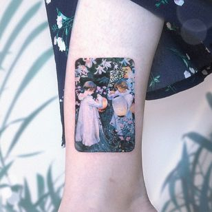 John Singer Sargent tattoo by Kozo Tattoo #KozoTattoo #finearttattoos #arthistory #JohnSingerSargent #painting #impressionism #realism #modernart #childen #flowers #famouspainting #lanters #light