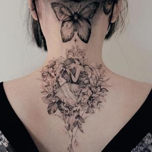 Fineline tattoo by Zihwa #Zihwa #besttimetogettattooed #gettattooed #winter #besttattoos #fineline #illustrative #angel #girl #flowers #floral #plants #Butterfly #linework #blackandgrey #neck #back