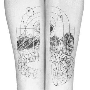 Illustrative tattoo by Peter Laeviv #PeterLaeviv #realism #illustrative #linework #intricate #detailed #fineline #abstract #mountains #waves #ocean #landscape #sun #moon