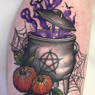 Witches brew tattoo by Leah Sharples #LeahSharples #Halloweentattoos #halloweentattoo #halloween #Samhain #AllHallowsEve #pentagram #witchesbrew #caldron #ghosts #bats #pumpkins #witches #color #Illustrative #spiderweb