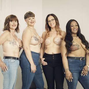 Kathleen, Alice, Natasha and Natasha for Breast Cancer Now and GHD #BreastCancerNow #GoodHairDay #mastectomytattoo #mastectomyscarcoveruptattoo #scarcoveruptattoo #nippletattoo #mastectomy