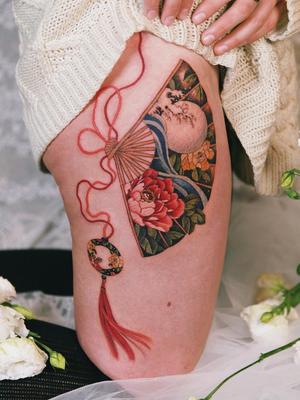Peony fan tattoo by Sion #Sion #TattooistSion