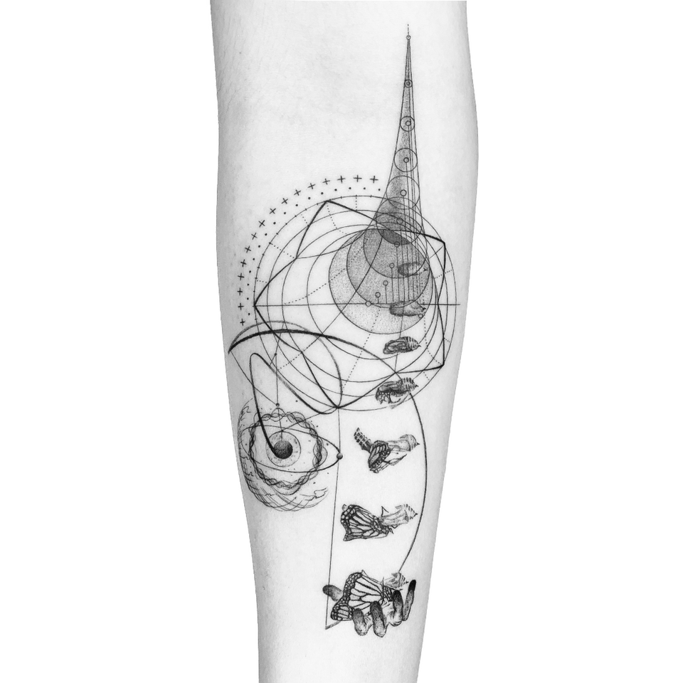 Illustrative tattoo by Peter Laeviv #PeterLaeviv #realism #illustrative #linework #intricate #detailed #fineline #abstract #butterfly #butterflyeffect #fibonacci #fractals