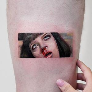 Pulp Fiction tattoo by Edit Paints #EditPaints #besttimetogettattooed #gettattooed #winter #besttattoos #pulpfiction #umathruman #movietattoo #legtattoo #color #realism #hyperrealism #portrait #ladyhead