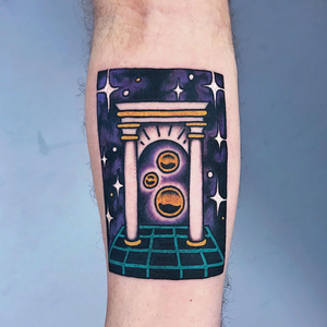 Surreal tattoo by Berly Boy #BerlyBoy #besttimetogettattooed #gettattooed #winter #besttattoos #color #surreal #portal #80s #stars #column #videogame #sphere #strange #color #newschool #arm