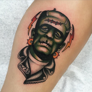 Frankenstein's Monster tattoo by Moira Ramone #MoiraRamone #Halloweentattoos #halloweentattoo #halloween #Samhain #AllHallowsEve #Frankenstein #Frankensteinsmonster #zombie #monster #color #traditional