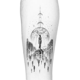 Illustrative tattoo by Peter Laeviv #PeterLaeviv #realism #illustrative #linework #intricate #detailed #fineline #abstract #surreal #moon #surrealism #body #crescentmoon #stars