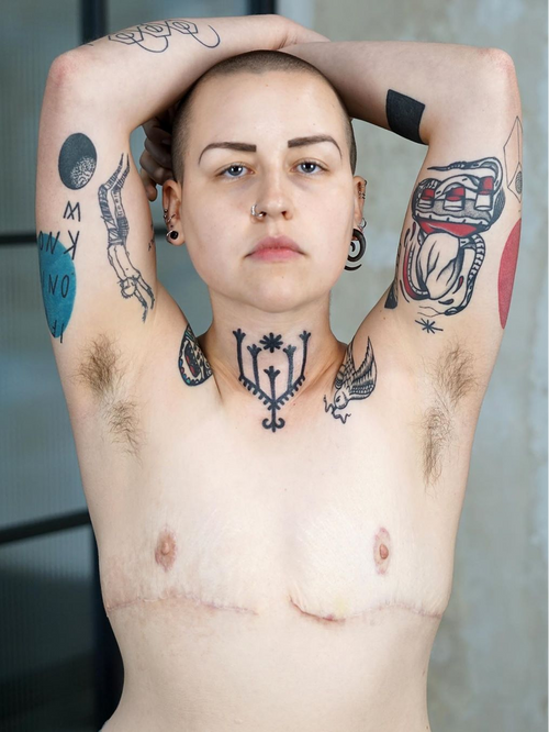 Neck tattoo by Brody Polinsky #BrodyPolinsky #nationalcomingoutday #queer #qttr #lgbt #lgbtqia #necktattoo #neck #linework #pattern #shape #folkart #neotribal