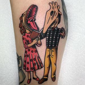Beetlejuice tattoo by Sarah Keeley #SarahKeeley #Halloweentattoos #halloweentattoo #halloween #Samhain #AllHallowsEve #movietattoo #beetlejuice #color #traditional