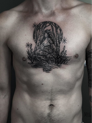 Chest tattoo by Morg Armeni #MorgArmeni #besttimetogettattooed #gettattooed #winter #besttattoos #darkart #illustrative #lady #trees #forest #water #nature #chest #stars #Moon