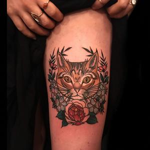 Cat tattoo by Derick Montez #DerickMontez #besttimetogettattooed #gettattooed #winter #besttattoos #color #traditional #cat #peony #flower #floral #wreath #kitty #petportrait