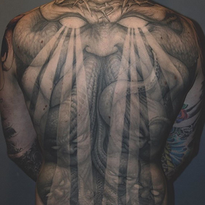 Dark art tattoo by Paul Booth #PaulBooth #LastRites #BoothGallery #biomechanical #darkart #surrealism #blackandgrey #occult #esoteric #horror #surreal