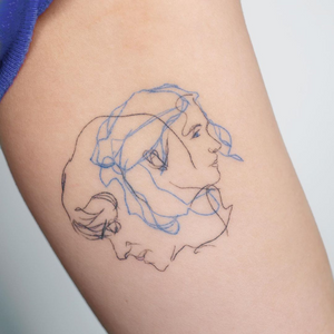 Eternal Sunshin of the Spotless Mind tattoo by Pauline of Studio by Sol #Pauline #StudiobySol #Seoul #Seoultattooartist #Koreantattooartist #Korea #eternalsunshineofthespotlessmind #movietattoo #portrait #arm #illustrative