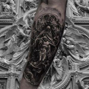 Ludovico Pogliaghi's Ascension of Jesus tattoo by Inal Bersekov #InalBerskov #LudovicoPogliaghi #Jesus #angel #blackandgrey #sculpture #realism #realistic