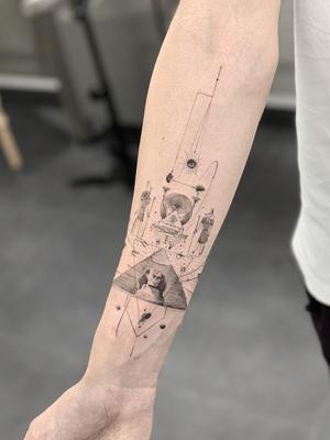 Forearm tattoo by Ali Anil Ercel #AliAnilErcel #besttimetogettattooed #gettattooed #winter #besttattoos #blackandgrey #pyramid #egypt #egyptian #Hieroglyphics #sphynx #linework #fineline #dotwork #stars #arm