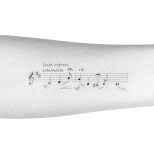 Illustrative tattoo by Peter Laeviv #PeterLaeviv #realism #illustrative #linework #intricate #detailed #fineline #script #cursive #musicnotes