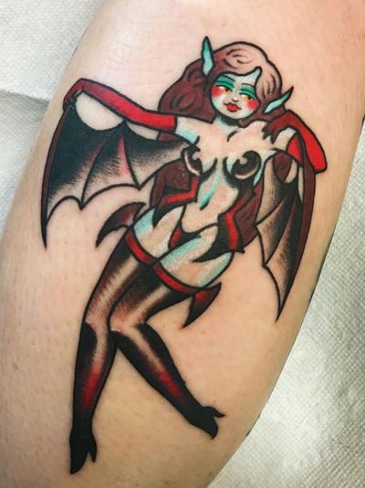Pin up vamp tattoo by Grace Lamorte #GraceLamorte #Halloweentattoos #halloweentattoo #halloween #Samhain #AllHallowsEve #vampire #pinup #bat #vamp #babe #lady #color #batwings #demon #traditional